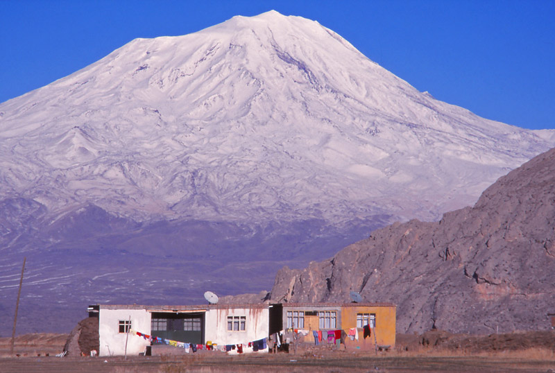 Houses at the foot of Mt Ararat, mythical landing place of Noah's ark