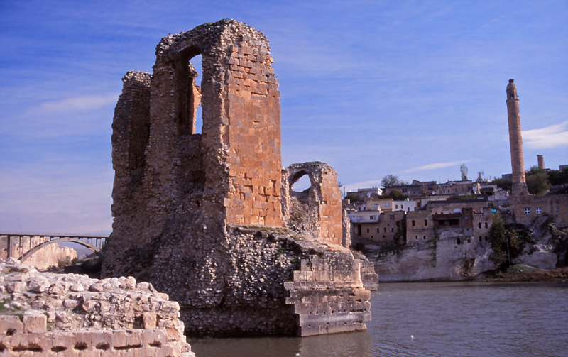 These ruins of a 12th century bridge across the Tigris at Hasankeyf were submerged in early 2020 by a new dam