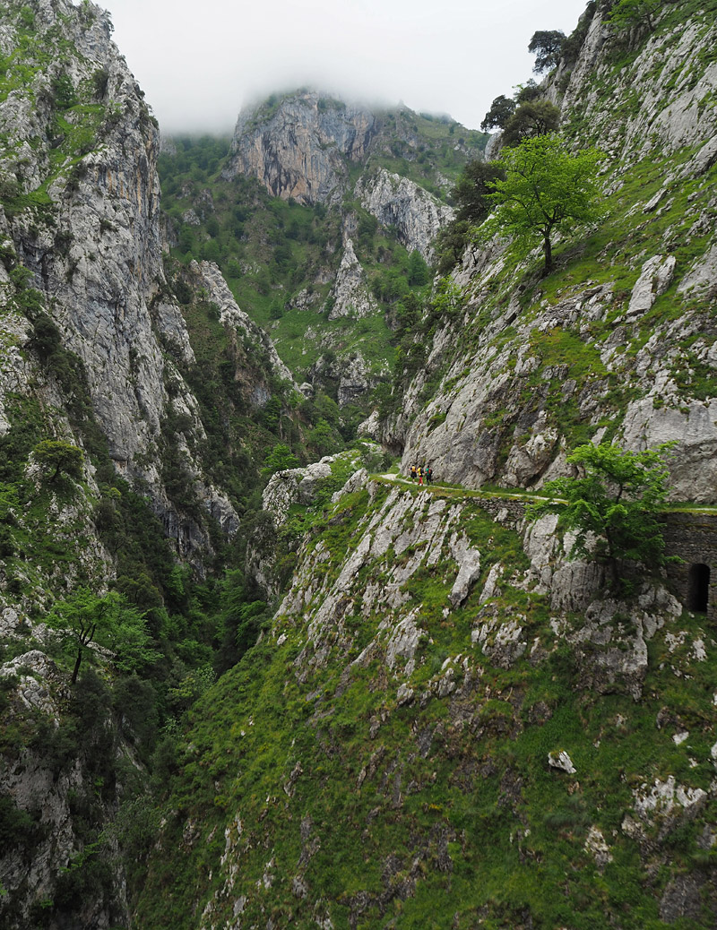 The Cares Trail hugs the side of a gorge in the Picos de Europa mountains