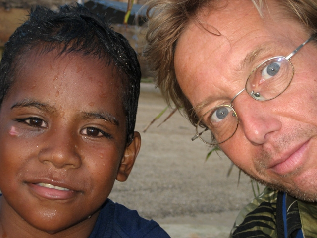 The author and a little friend at Neiafu Harbour, Vava'u