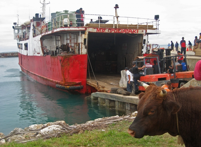 The rusting ferry MV Pulupaki is loaded up in Nuku'alofa