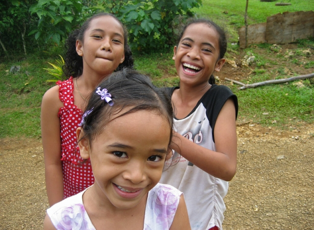 Funny girls on Pangai Island