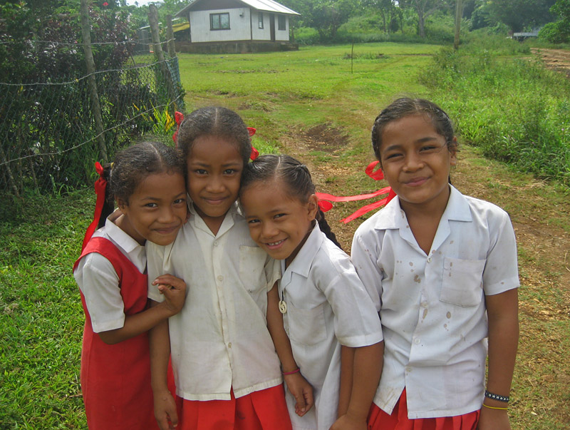 Schoolgirls in uniform on Vava'u Island