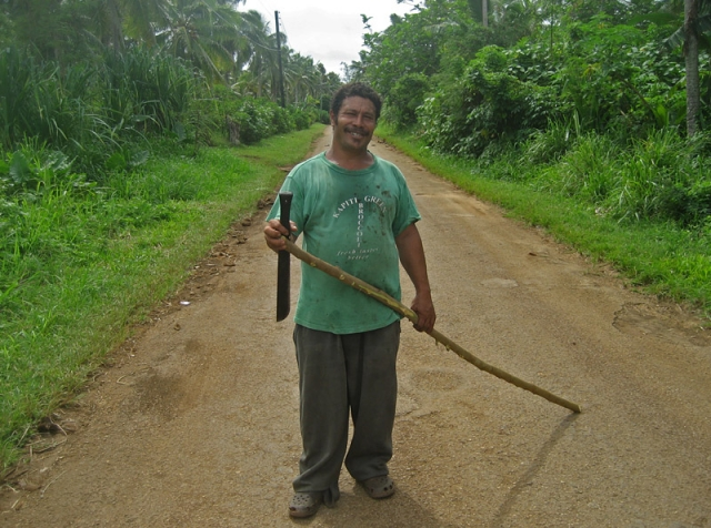A man heads to his fields on Vava'u Island