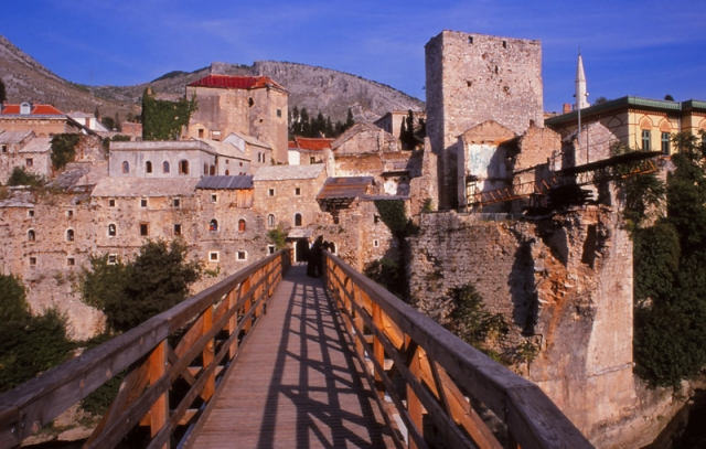 Bosnia, 1999: Temporary bridge in Mostar, next to the ruins of the 16th century Stari Most (Old Bridge)