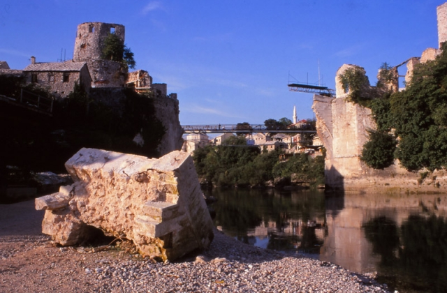Bosnia, 1999: Ruins of the 16th century Stari Most (Old Bridge), a Bosnian national symbol destroyed by Croatian paramilitary forces in 1993