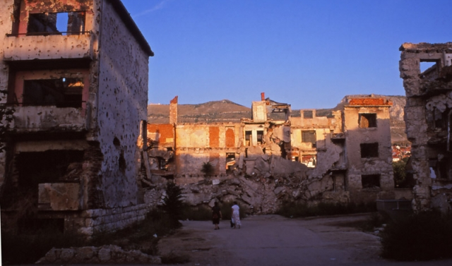 Bosnia, 1999: War-damaged apartment buildings in central Mostar