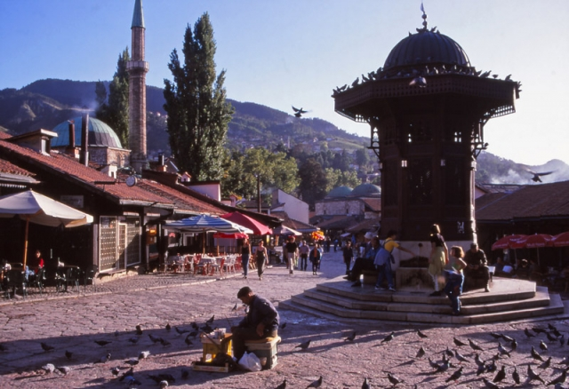 Bosnia, 1999: A scene in Baščaršija, Sarajevo's old Turkish district