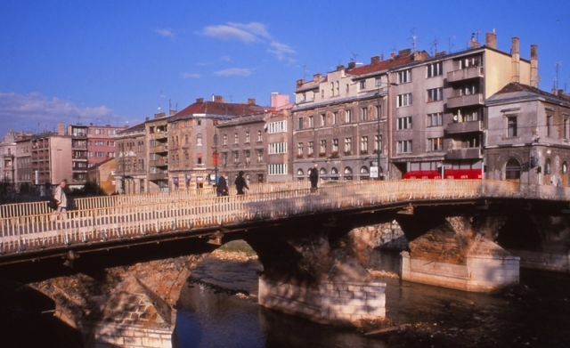 Bosnia, 1999: Latinski Most (Latin Bridge) in Sarajevo where Serb nationalist Gavrilo Princip shot Austrian Archduke Franz Ferdinand in 1914, sparking World War I