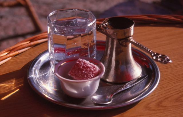 Bosnia, 1999: Turkish coffee served with Turkish delight at a Sarajevo café