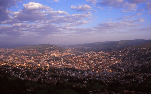 Bosnia, 1999: View over Sarajevo, Bosnia's capital city