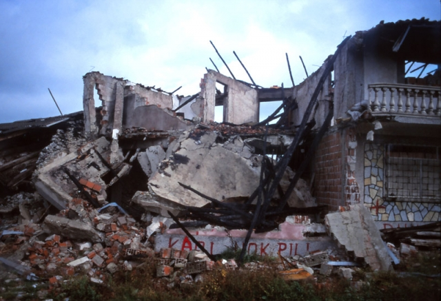 "Kosovo, 1999: Homes destroyed in ""ethnic cleansing"" along the road from Pejë to Prizren"