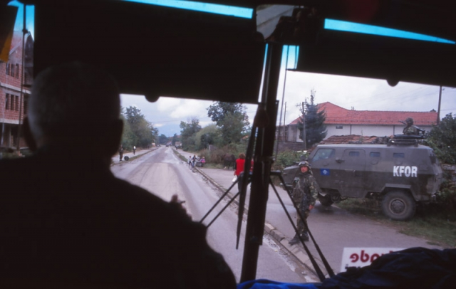 Kosovo, 1999: A Nato-run KFOR (Kosovo Force) checkpoint between Pejë and Prizren