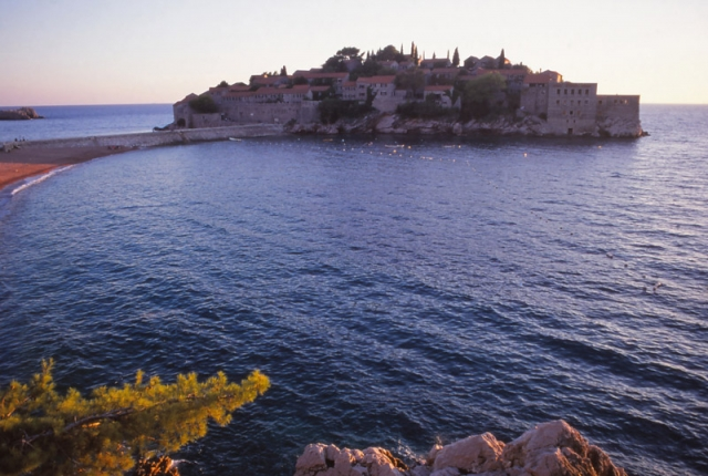 Montenegro, 1999: Once a fortified island village, Sveti Stefan is now a luxury resort