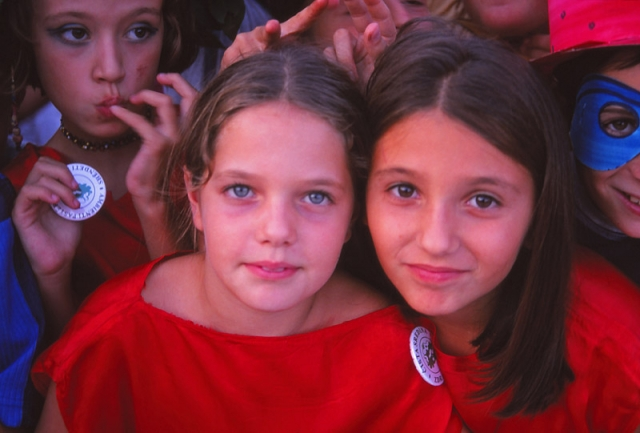 Montenegro, 1999: Children in Ulcinj at a UN-organised festival after the Kosovo War
