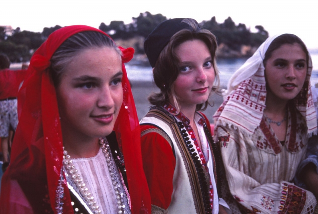 Montenegro, 1999: Girls in traditional Albanian costume at a festival in Ulcinj