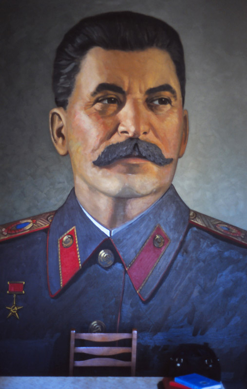 A portrait of Stalin occupies an entire wall in a Batumi museum