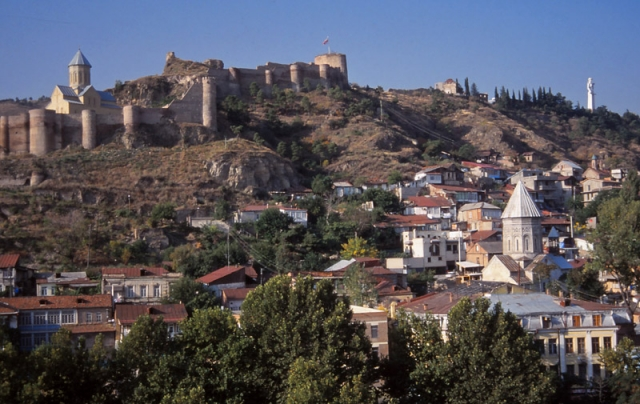 Narikala Fortress dominates the skyline of Tbilisi, Georgia's capital