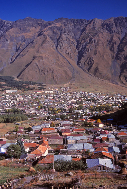 The town of Kazbegi (since renamed Stepantsminda) at 1740m above sea level in the Caucasus Mountains