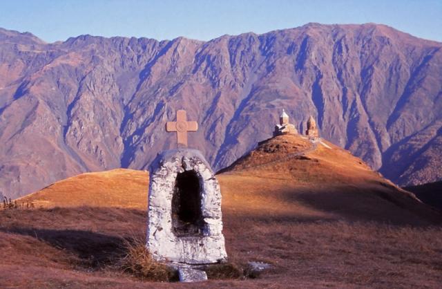 A shrine high in the Caucasus Mountains near the 14th century Tsminda Sameba Church