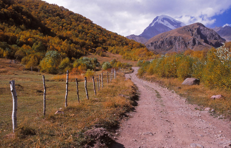 A road in the mountains near Kazbegi leads to 5047m-high Mt Kazbek