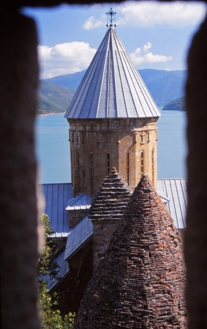 View from a tower of the 17th century church-fortress of Ananuri