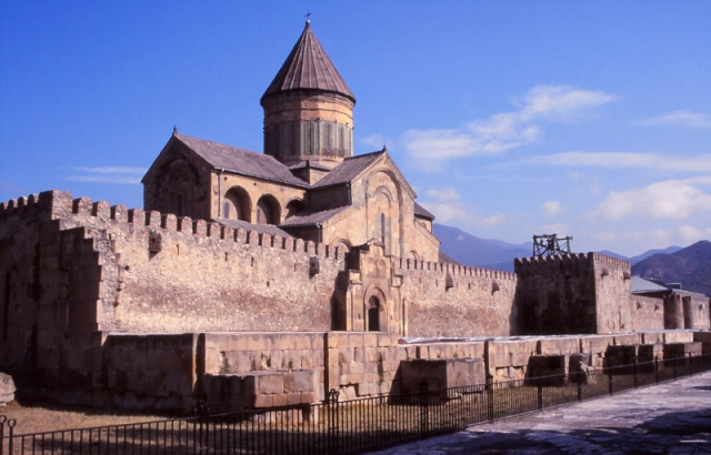Svetitskhoveli Cathedral, built in 1010-1029 AD, is the biggest in Georgia