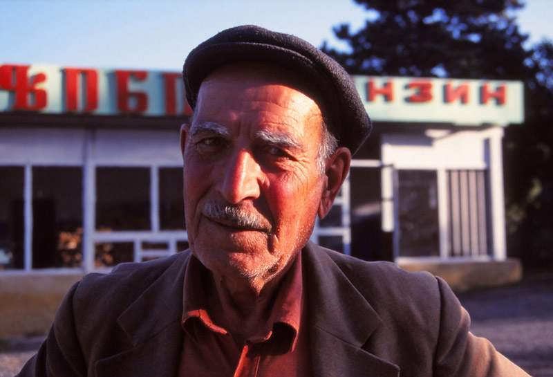 A petrol station attendant in Sighnaghi
