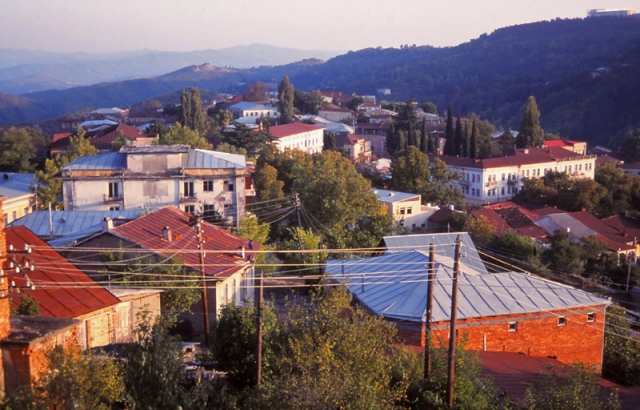 View over the rooftops of Sighnaghi, a charming mountain town in eastern Georgia