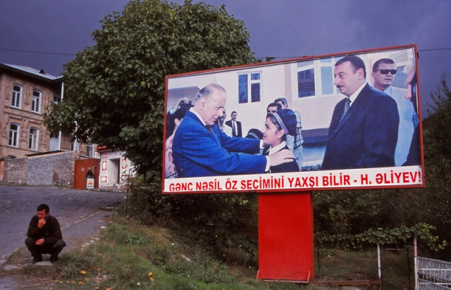 Propaganda billboard in Şeki with former president Heydar Aliyev and his son and successor Ilham