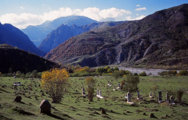 A cemetery near the mountain town of Lahıc