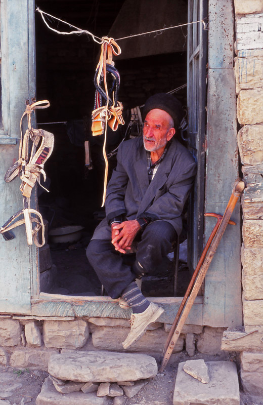 A blind bridle-maker at his workshop in Lahıc