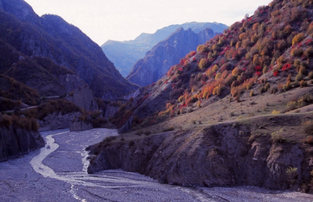 The perilous road to Lahıc (left) is cut into the Girdiman River gorge
