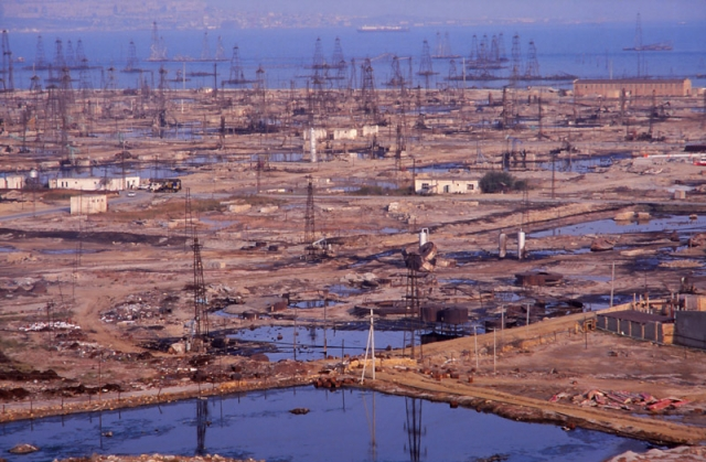 The Caspian shore near Baku has been devastated by oil extraction