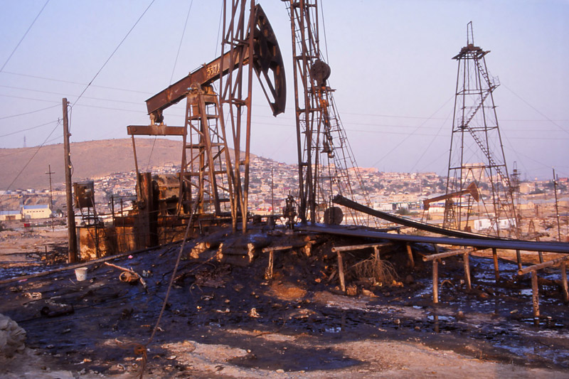 Oil-scarred landscape near Baku