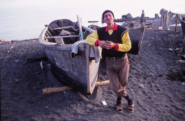 A fisherman named Elşan shows off his boat