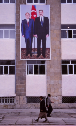 A propaganda billboard in Lenkeran