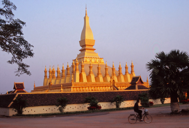 A gold-covered stupa in Vientiane called Pha That Luang, the nation's most important religious monument