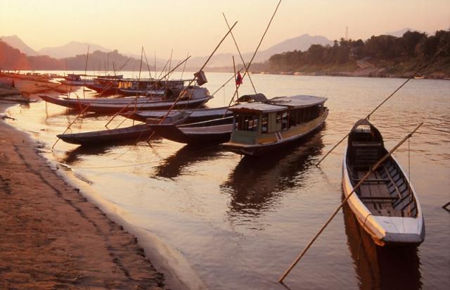 Boats moored along the Mekong River, Luang Prabang
