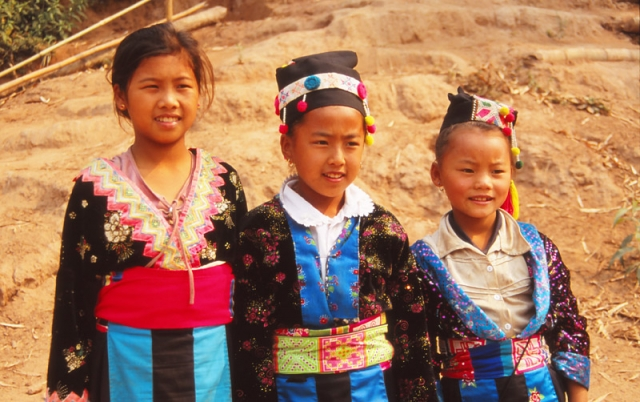 Girls in traditional Hmong dress