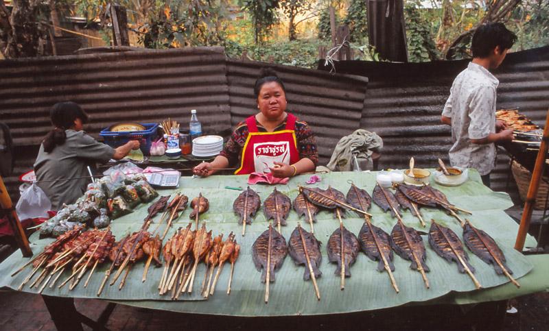The chicken and fish lady at Luang Prabang's night market