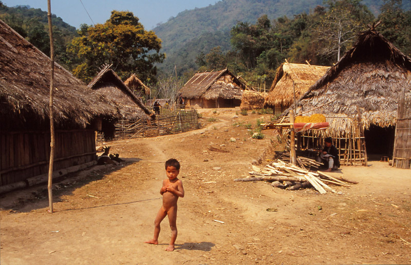 A scene in the Hmong hill tribe village of Phayong