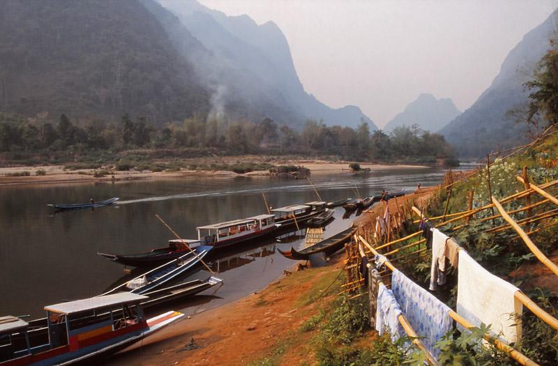 Boats moored in the Nam Ou River, Muang Noi Neua village