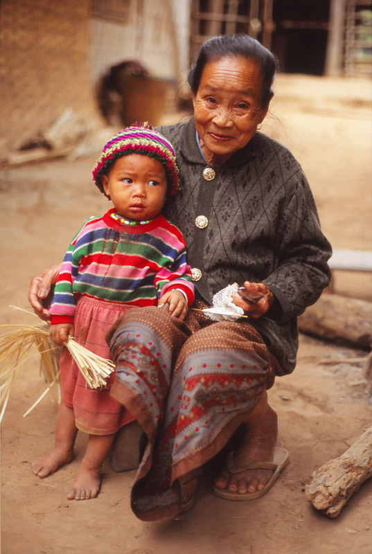 A grandmother and child in the Lowland Lao village of Sopkhan