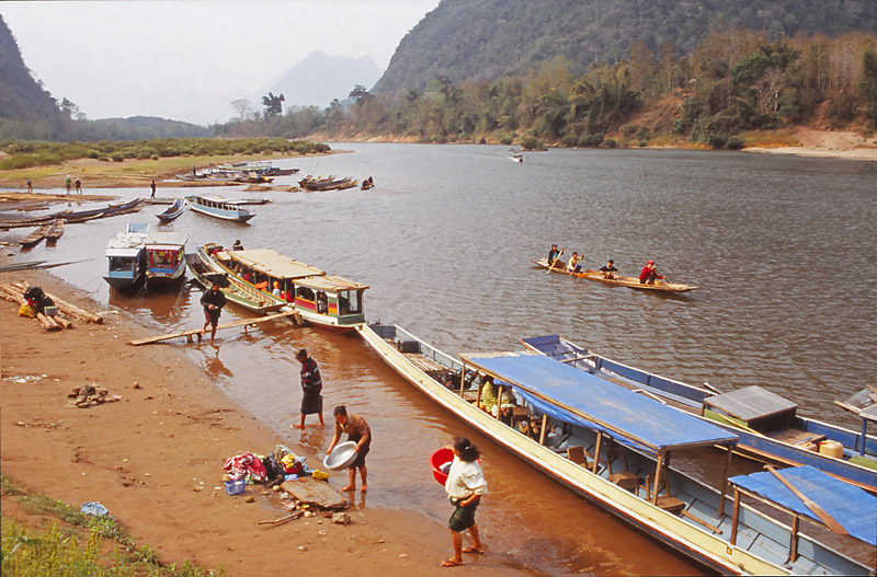 Riverside scene in Muang Noi Neua, a village accessible only by boat