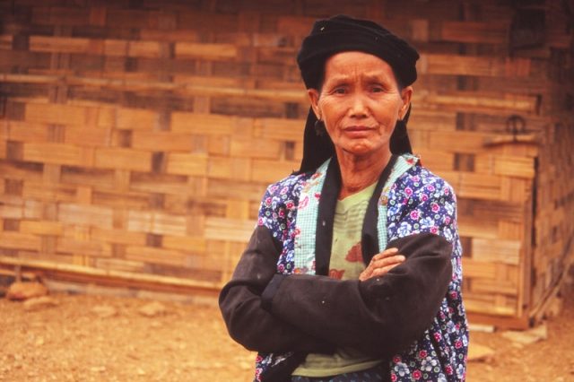 A woman of the highland-dwelling Hmong tribe