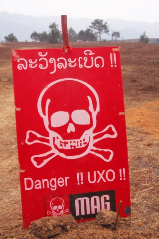 Unexploded bombs warning on the Plain of Jars, eastern Laos