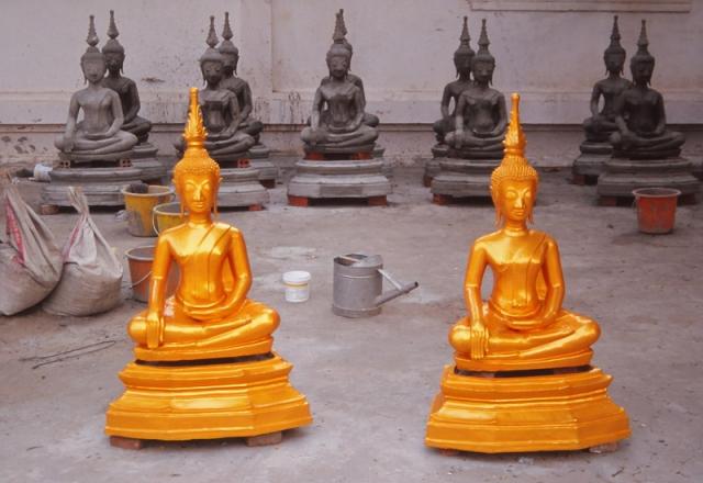 A Buddha factory at Wat Sainyaphum temple, Vientiane