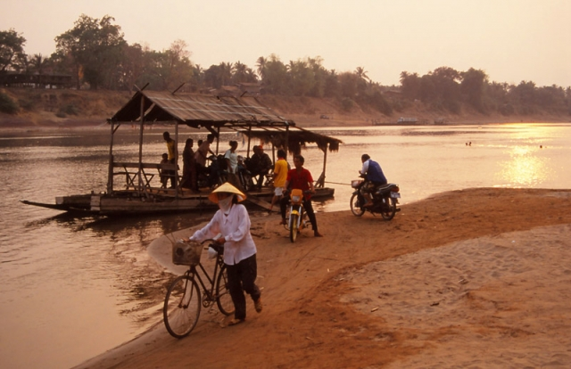 Ferry across the Xekong River in Attapeu, southern Laos