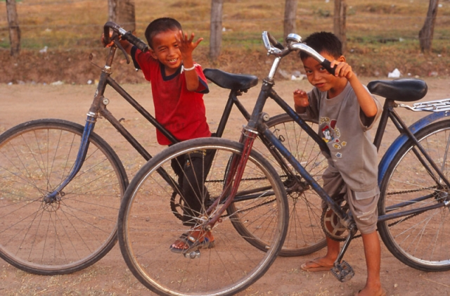 """""""Waddaya mean our bikes are too big for us?"""" Don Khon Island, southern Laos."""